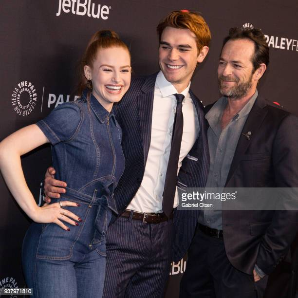 Madelaine Petsch KJ Apa and Luke Perry arrive for the 2018 PaleyFest Los Angeles CW's Riverdale at Dolby Theatre on March 25 2018 in Hollywood...