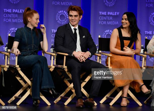 Madelaine Petsch KJ Apa Camila Mendes attend The Paley Center For Media's 35th Annual PaleyFest Los Angeles Riverdale at Dolby Theatre on March 25...