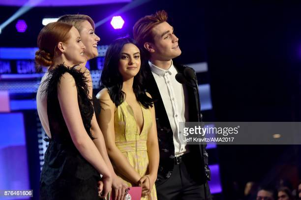 Madelaine Petsch Lili Reinhart Camila Mendes and KJ Apa onstage during the 2017 American Music Awards at Microsoft Theater on November 19 2017 in Los...