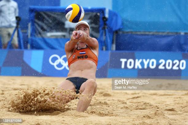 Madelein Meppelink of Team Netherlands returns against Team United States during the Women's Preliminary - Pool B beach volleyball on day seven of...