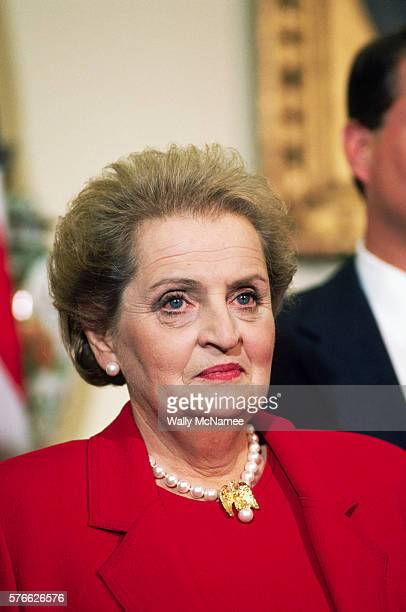 Madeleine Albright after being announced as President Bill Clinton's choice for Secretary of State
