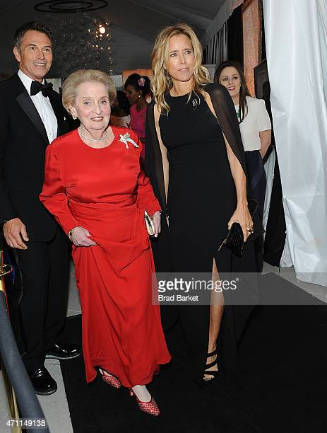 Madeleine Albright and Tea Leoni attend the National Journal And The Atlantic White House Correspondents' PreDinner Reception at The Washington...