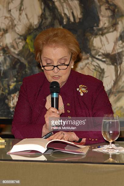 Madeleine Albright attends Madeleine Albright and Jonathan Burnham introduce her new book THE MIGHTY ALMIGHTY Reflections on America God and World...