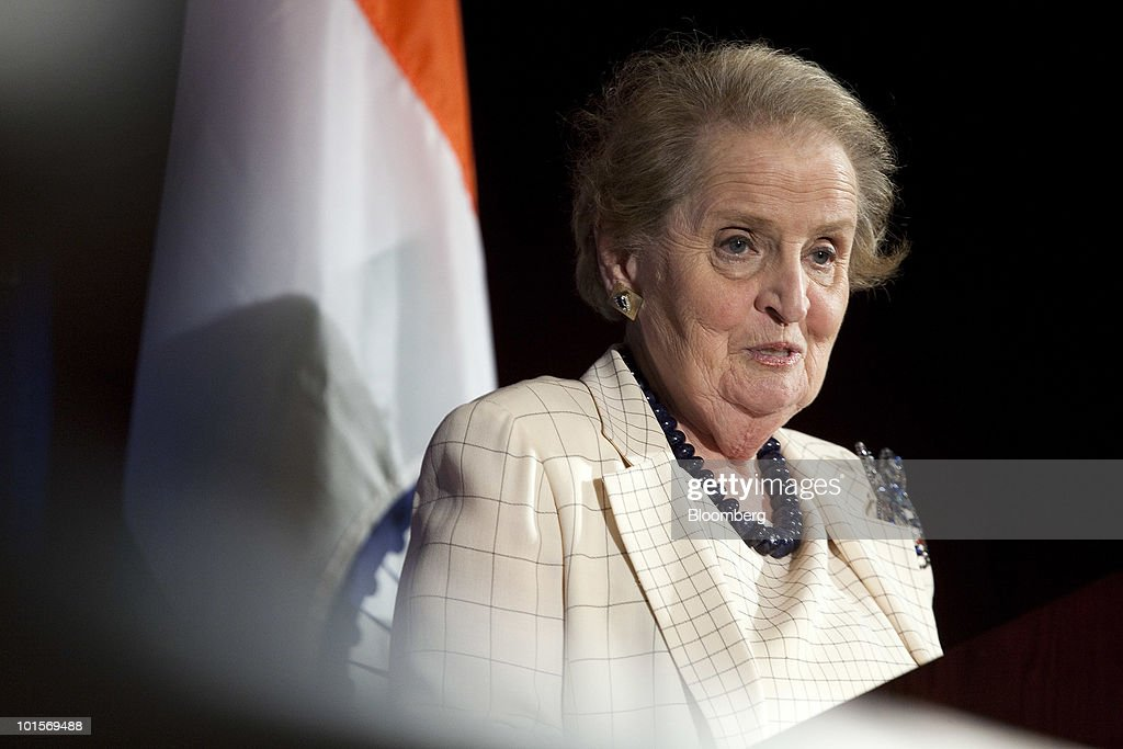 Madeleine Albright, former U.S. secretary of state, speaks at the U.S.-India Business Council meeting in Washington, D.C., U.S., on Wednesday, June 2, 2010. The USIBC, formed in 1975, represents AmericaÕs top companies investing in India. Photographer: Joshua Roberts