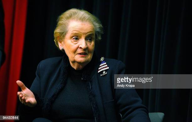 Madeleine Albright promotes Read My Pins at the Museum of Art and Design on December 14 2009 in New York City