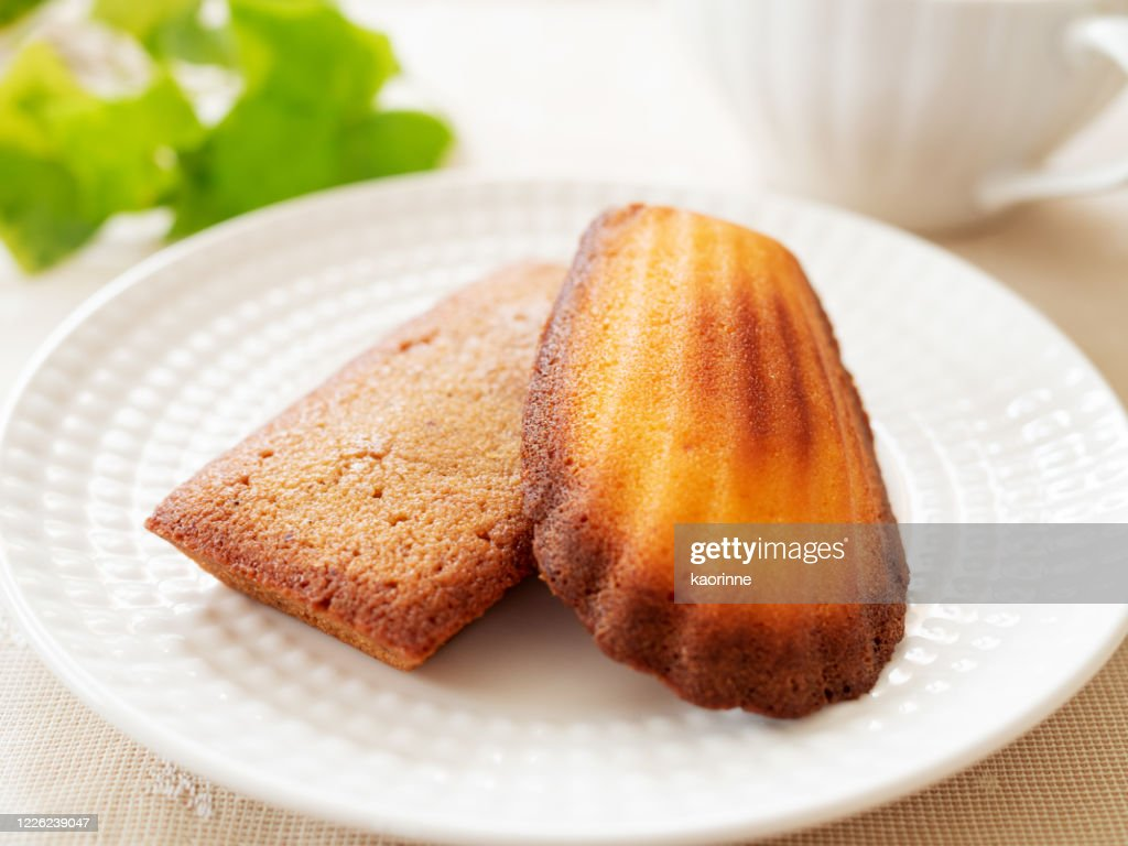 Madeleine and Financier with a cup of tea : Stock Photo