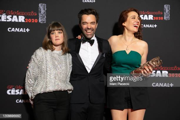 Madeleine Baudot poses with Yvonnick Muller and Lauriane Escaffre for the Best Short Film award for the movie 'Pile Poil' during the Cesar Film...