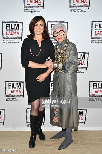Madeleine Brand and Iris Apfel attend the Film Independent at LACMA Screening and QA of Iris at Bing Theatre At LACMA on April 27 2015 in Los Angeles...
