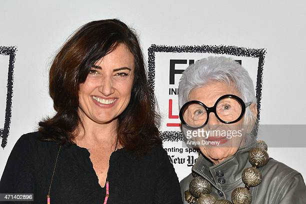 """Madeleine Brand and Iris Apfel attend the Film Independent at LACMA Screening and Q&A of """"Iris"""" at Bing Theatre At LACMA on April 27, 2015 in Los..."""