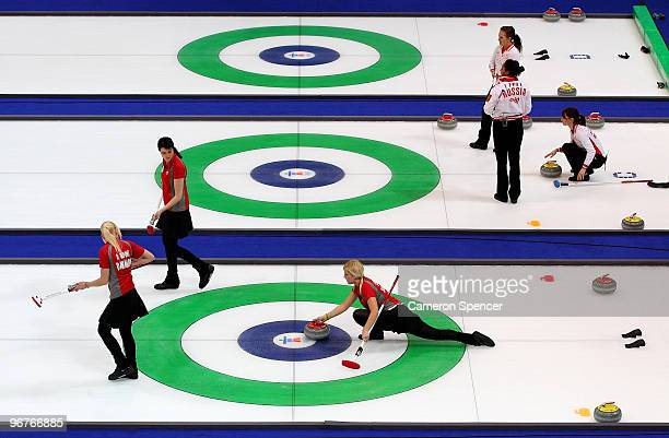 Madeleine Dupont of Denmark releases the stone during the women's curling round robin game between Denmark and Sweden on day 5 of the Vancouver 2010...