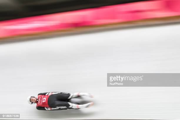 Madeleine Egle of Austria competing in luge Team Relay Competition at Olympic Sliding Centre at Pyeongchang South Korea on February 15 2018