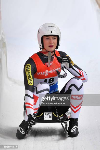 Madeleine Egle of Austria finishes her second run of the Women's competition during the FIL Luge World Cup at Olympia-Rodelbahn on November 23, 2019...