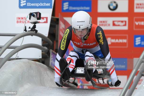 Madeleine Egle of Austria practices in the women's training session during training for the FIL Luge World Cup at Olympia-Rodelbahn on November 22,...