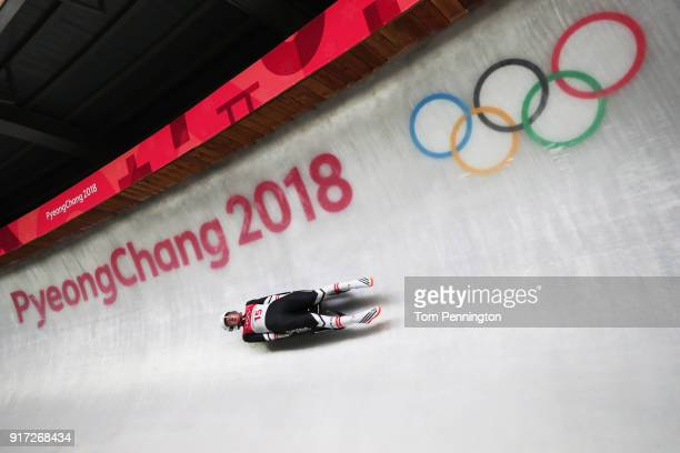 Madeleine Egle of Austria slides in the Women's Singles Luge run 1 at Olympic Sliding Centre on February 12, 2018 in Pyeongchang-gun, South Korea.