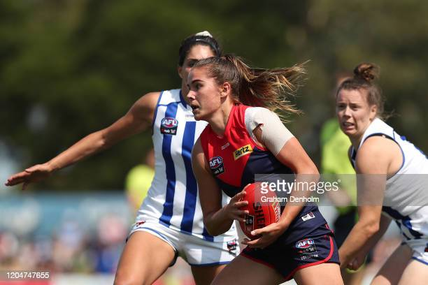 Madeleine Guerin of the Demons in action during the round one AFLW match between the Melbourne Demons and the North Melbourne Kangaroos at Casey...