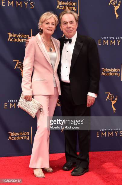 Madeleine Gurdon and Sir Andrew Lloyd Webber attend the 2018 Creative Arts Emmys Day 2 at Microsoft Theater on September 9 2018 in Los Angeles...