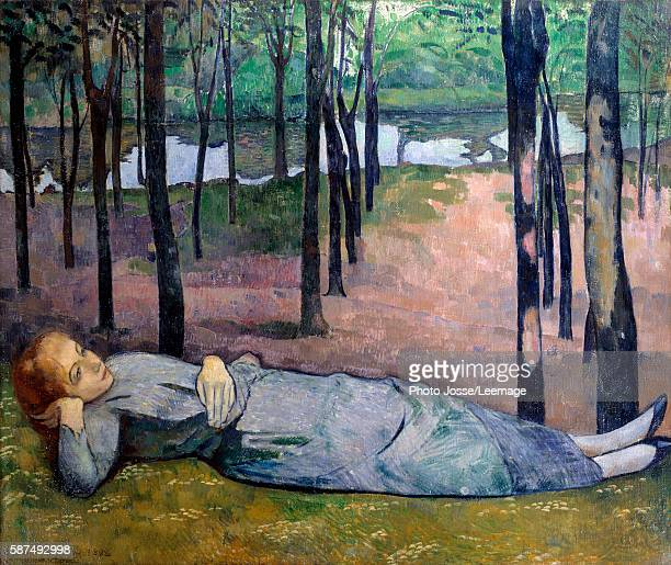 """Madeleine in the Bois d'Amour also called """"Portrait of my sister"""". A dreamy woman lying in a wood. Painting by Emile Bernard , 1888. Oil on canvas...."""