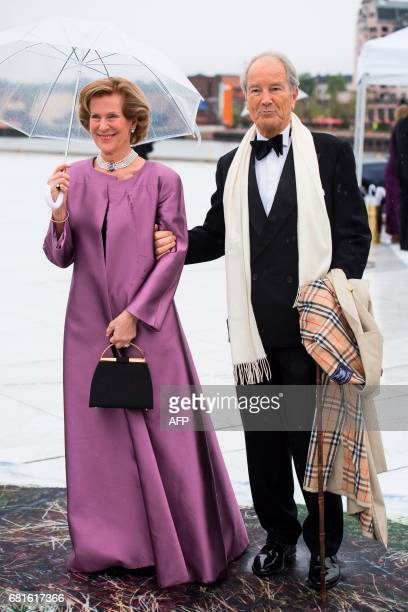 Madeleine Kogevinas og Bernhard Mach arrive for a gala dinner at the Operahouse in Oslo on May 10 2017 in celebration of the 80th bithdays of King...