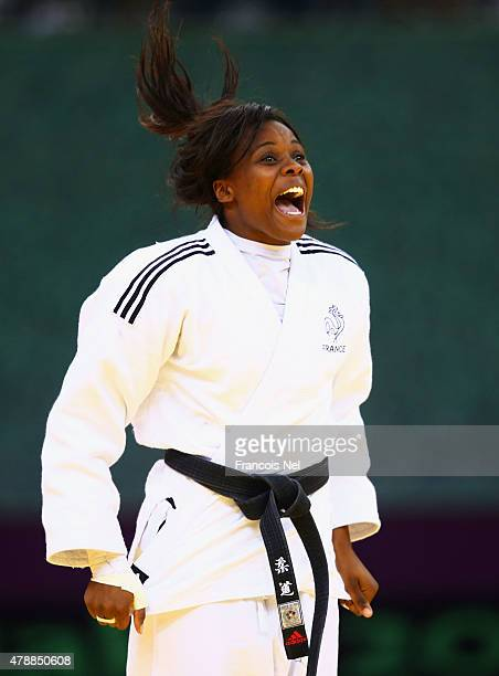 Madeleine Malonga France celebrates winning the gold in the Women's Team gold medal match during day sixteen of the Baku 2015 European Games at...