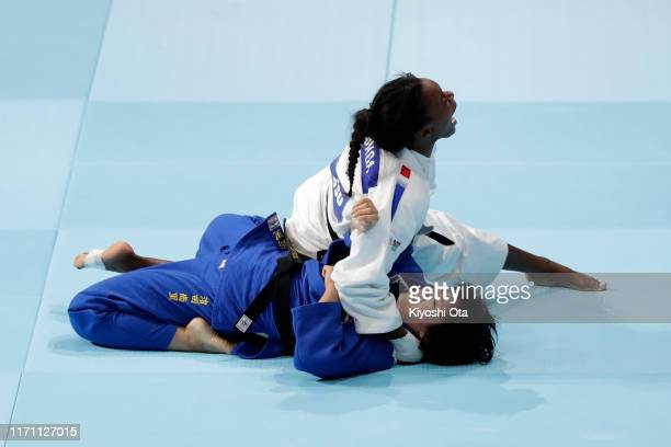 Madeleine Malonga of France celebrates her victory over Shori Hamada of Japan in the Women's -78kg final on day six of the World Judo Championships...