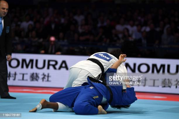 Madeleine Malonga of France fights for the gold medal against Shori Hamada of Japan in the women's under 78kg category during the 2019 Judo World...