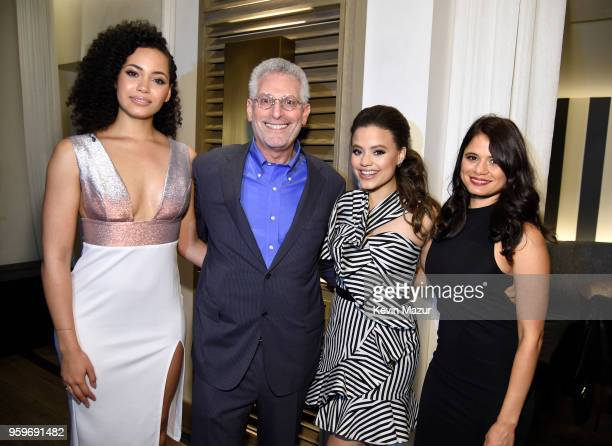 Madeleine Mantock President of The CW Television Network Mark Pedowitz Sarah Jeffrey and Melonie Diaz attend The CW Network's 2018 upfront party at...