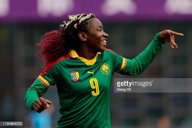Madeleine Michele of Cameroon celebrating goals during CFA team China international Women's football tournament Wuhan 2019 between Cameroon and...