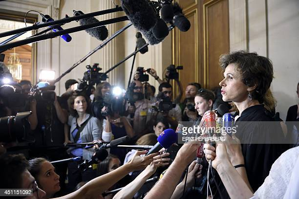 Madeleine Munier Apaire the lawyer of the nephew of a 38yearold tetraplegic man in a vegetative state speaks to the press at the State Council...