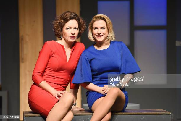 Madeleine Niesche and Jeanette Biedermann attend the rehearsal for the play 'Aufguss' at Theater am Kurfuerstendamm on March 29 2017 in Berlin Germany