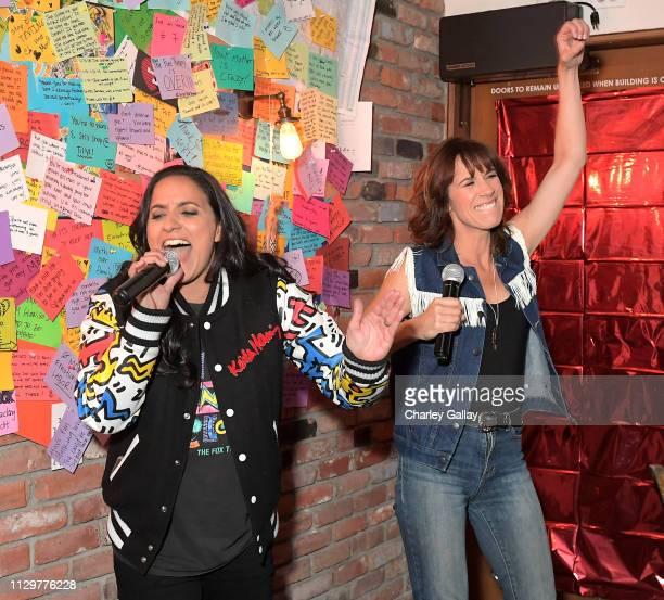 Madeleine Sami and Jackie van Beek perform at the Netflix Film 'The Breaker Upperers' x The Break Up Bar Karaoke Valentines at the Break Up Bar on...