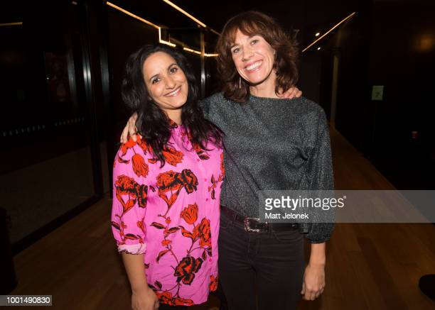 Jackie van Beek Madeleine Sami during a QA screening of The Breaker Upperers at Luna Leederville on July 16 2018 in Perth Australia