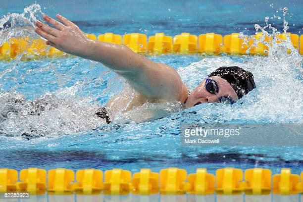 Madeleine Scerri of Malta competes in the Women's 100m Freestyle Heat 1 held at the National Aquatics Center on Day 5 of the Beijing 2008 Olympic...