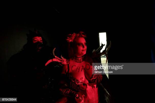 Madeleine Soleil of the United Kingdom waits off stage before performing her routine at the World Burlesque Games 2017 on November 4 2017 in London...