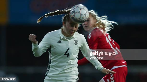 Madeleine Steck of Germany and Sofie Hornemann of Denmark compete for the ball during the U16 Girls international friendly match betwwen Denmark and...