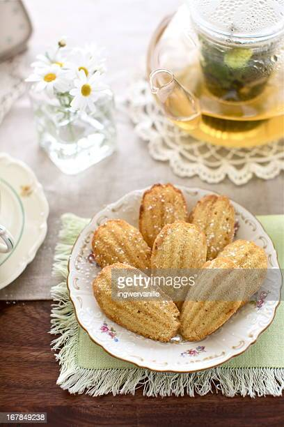 Madeleines biscuits with tea
