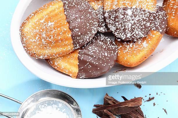 Madeleines with a chocolate glaze