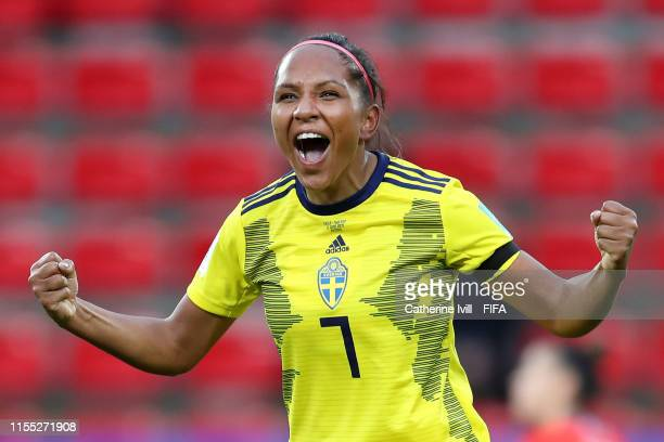 Madelen Janogy of Sweden celebrates after scoring her team's second goal during the 2019 FIFA Women's World Cup France group F match between Chile...