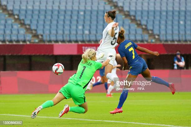 Madelen Janogy of Team Sweden scores their side's second goal past Erin Nayler of Team New Zealand during the Women's Group G match between New...