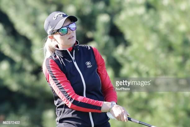 Madelene Sagstrom of Sweden action on the 2th tee during an KEB HANA BANK LPGA Championship day 2 at Sky72 Ocean Golf range in Incheon South Korea