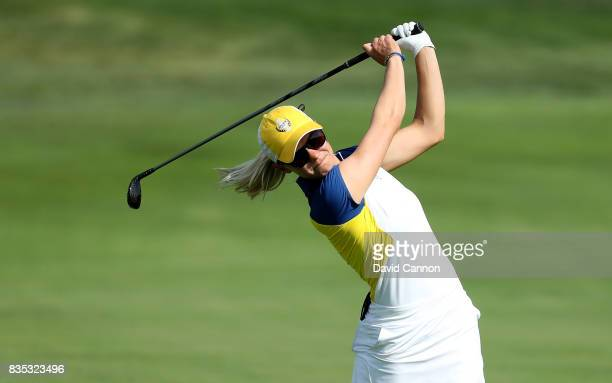 Madelene Sagstrom of Sweden and the European Team plays her second shot on the 11th hole in her match with Jodi Ewart Shadoff against Michelle Wie...