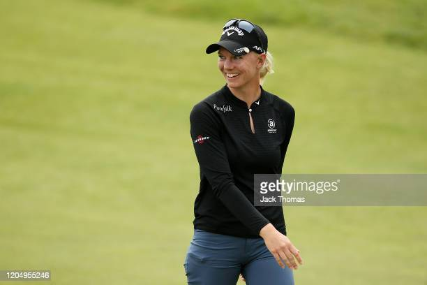 Madelene Sagstrom of Sweden celebrates after a shot on the 9th Beach Course hole during Day Four of the ISPS Handa Vic Open at 13th Beach Golf Club...