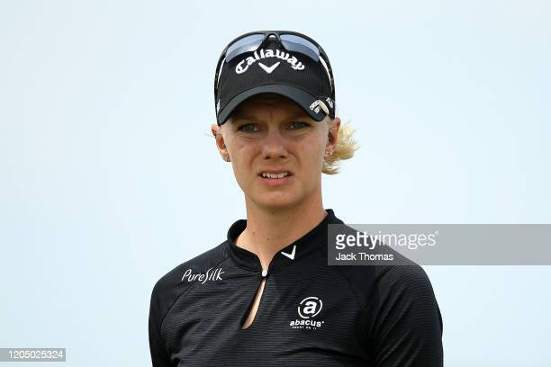 Madelene Sagstrom of Sweden looks on after playing her second shot on the 6th Beach Course hole during Day Four of the ISPS Handa Vic Open at 13th...