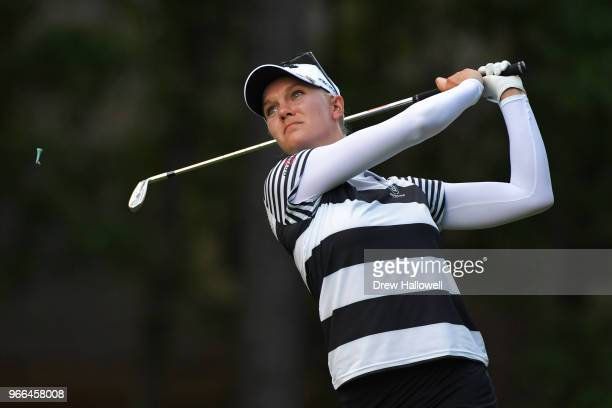 Madelene Sagstrom of Sweden plays a shot on the 13th hole during the third round of the 2018 US Women's Open at Shoal Creek on June 2 2018 in Shoal...