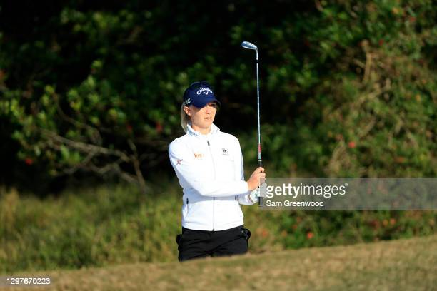 Madelene Sagstrom of Sweden plays a shot on the fourth hole during the first round of the Diamond Resorts Tournament Of Champions at Tranquilo Golf...