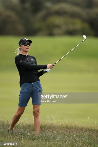 Madelene Sagstrom of Sweden plays her second shot on the 5th Beach Course hole during Day Four of the ISPS Handa Vic Open at 13th Beach Golf Club on...