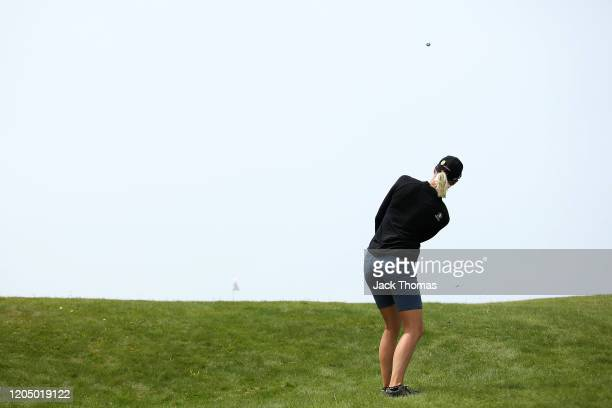 Madelene Sagstrom of Sweden plays her second shot on the 7th Beach Course hole during Day Four of the ISPS Handa Vic Open at 13th Beach Golf Club on...