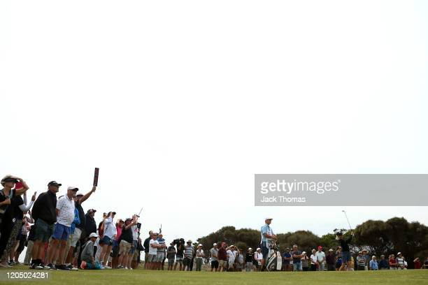 Madelene Sagstrom of Sweden plays her second shot on the 8th Beach Course hole during Day Four of the ISPS Handa Vic Open at 13th Beach Golf Club on...