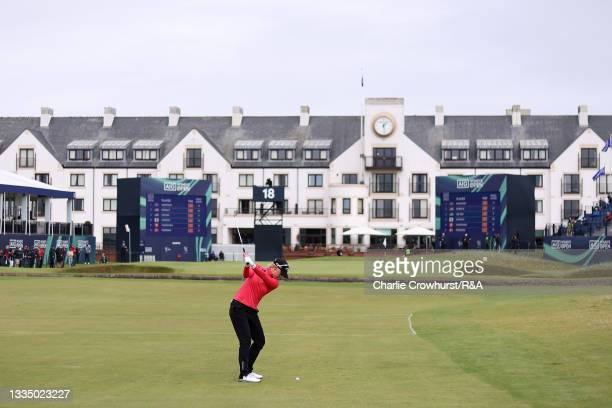 Madelene Sagstrom of Sweden plays her third shot on the eighteenth hole during Day One of the AIG Women's Open at Carnoustie Golf Links on August 19,...