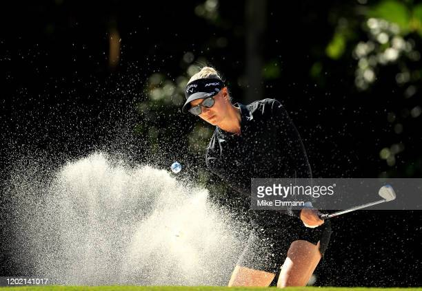 Madelene Sagstrom of Sweden plays out of a bunker shot on the fifth hole during the final round of the Gainbridge LPGA at Boca Rio on January 26,...