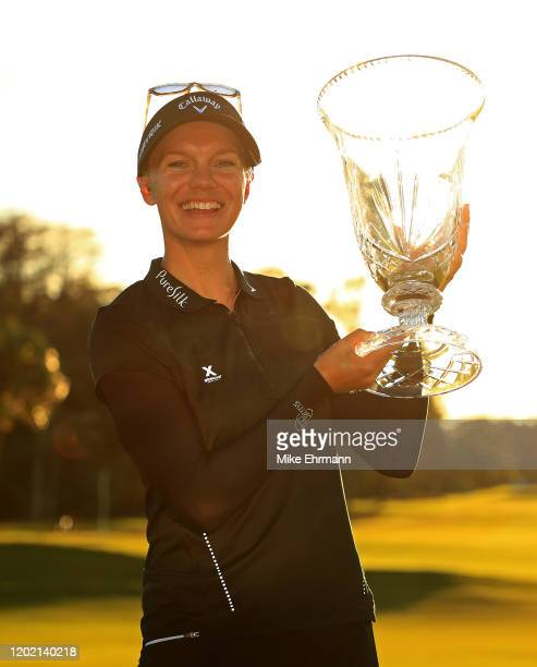 Madelene Sagstrom of Sweden poses with the trophy after winning the Gainbridge LPGA at Boca Rio on January 26 2020 in Boca Raton Florida